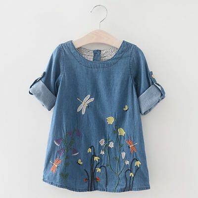 Toddler Kids Baby Girls Dress Long Sleeve Party Pageant Denim Casual Dresses