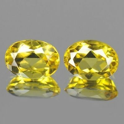 1.50cts 5x7mm Rare Natural Gemstones Fantastic Oval Pair Yellow Natural Beryl