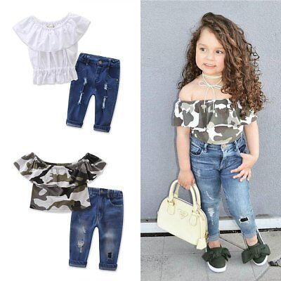 2PCS Toddler Kids Baby Girls Clothes T-shirt Tops+Denim Pants Jeans Outfits Set