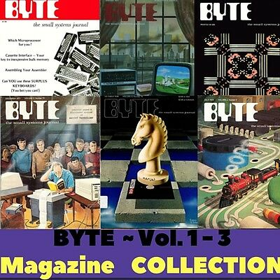 BYTE Microcomputer Vintage Magazine Volumes 1 - 3 - 40 Retro Magazines on 1 DVD