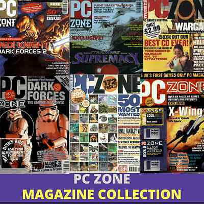 PC ZONE MAGAZINE - 54 Rare Issues -IBM pc - Vintage, Retro Gaming - 2 Data DVD's