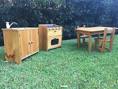 Kids Wooden cubby furniture table chairs working sink oven stove top grill play