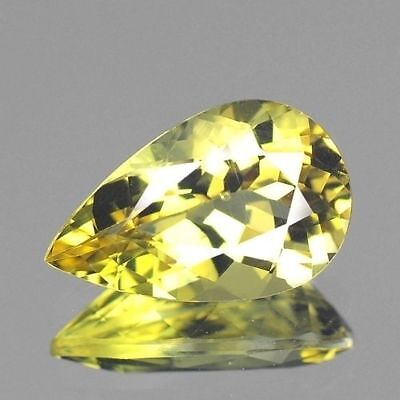 1.50cts Natural Loose Gemstones Brazilian Pear Greenish Yellow Beryl Free Ship