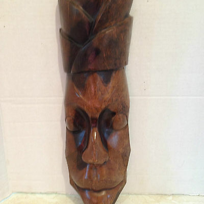 African Hand Carved Wood Mask Wall Hanging