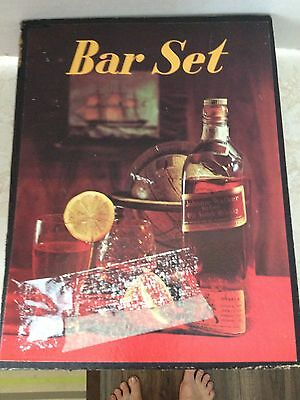 Vintage 4PC Bar Set in Box with Drink Receipes Aid