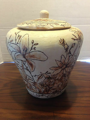 Vintage Asian Urn with Lid Pure Wax Flowers Large