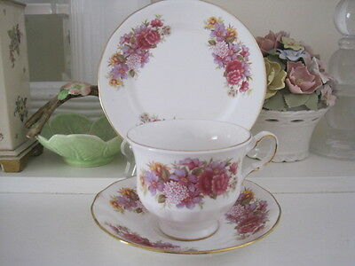 Beautiful Vintage Queen Anne Fine Bone China Trio - Pinks And Mauves