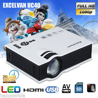 UC40 Mini HD 1080P LED Projector Home Cinema Theater HDMI VGA AV USB SD AUDIO UK