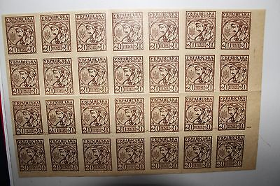 """Ukraine 1918 """"first Definitive Issue"""" Mh* Block Of 28 Stamps (Cat.9)"""