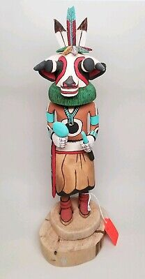 VINTAGE Authentic Hopi Tribe Kachina Doll COW (Wakas) Signed Elmer Adams 13-1/2""