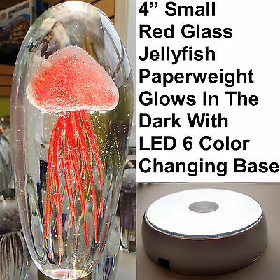 "Red Small Glass Jelly Fish 4"" Glow In The Dark Paperweight RGB LED Base Stand"