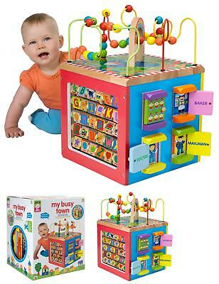 Baby Toys Wooden Activity Cube Toddler Educational Toy Alphabet Learning Play