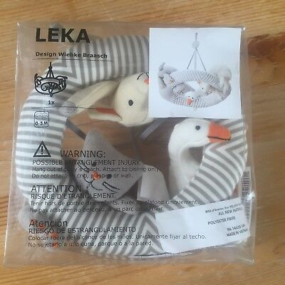 IKEA LEKA Baby Nursery Decor Crib Mobile New in Box Gray Stripe Animals