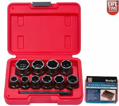 10pc Damaged Nut Bolt Remover Stud Extractor Set Broken Bolt Removal Kit 01539