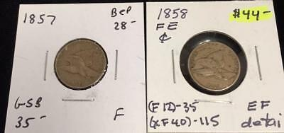 1857 & 1858 Flying Eagle Cent 2 Coins (88* 12323)