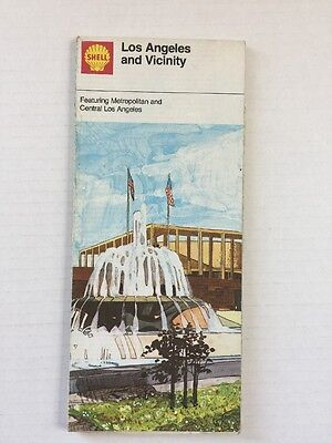 Shell Oil Ad Road Map Guide Street Metropolitan Central Los Angeles Vintage 1974