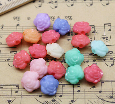 30/100pcs Mixed Colors Flower Acrylic Charm Jewelry Making Beads DIY 11x11mm