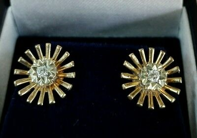 "Vintage 9ct gold stud earrings. Set with ""Eight cut"" Diamonds. Birmingham 1963"