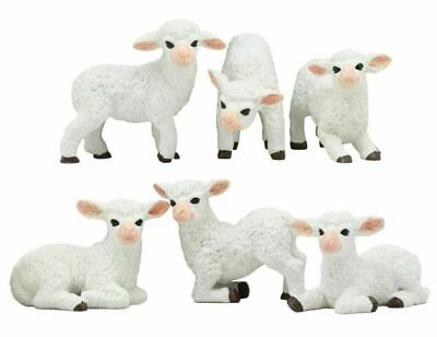 Small Sheep Collectible Figurine Set of 6 Pieces Whimsical Flock Of Sheep Statue