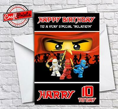 Lego Ninjago Personalised Birthday Card - SON, BROTHER, SISTER, GRANDSON ETC