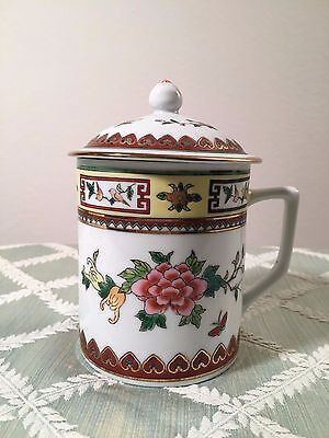 Chinese Tea Mug (Vintage Porcelain Cup China Asia Asian Butterfly Flower Rose)
