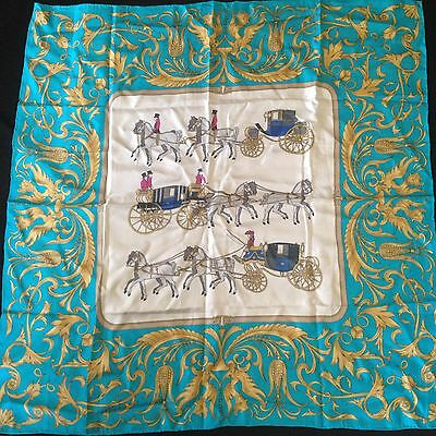 HAPPINESS Multi-Color Horse & Coach Rolled Hem 100% Silk Large Square Scarf
