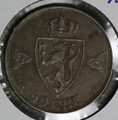 Nice Better Date Norway 1923 50 Ore Coin!!  Solid Extra Fine Condition Coin