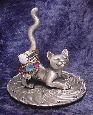 Pewter Cat RING HOLDER with Sparkling IRIDESCENT BLUE Crystals