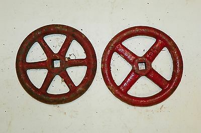 "2 HUGE 5"" RED Metal Water Faucet Knobs Valve Handle STEAMPUNK Industrial Art"