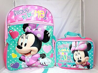 Disney Minnie Mouse Girls Cartoon Cute Pink School Backpack Lunch Box Book Bag