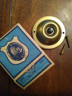 Vtg NOS Brass Electric Doorbell Eagle Electric MFG. CO. 2 1/4 in. round Antique