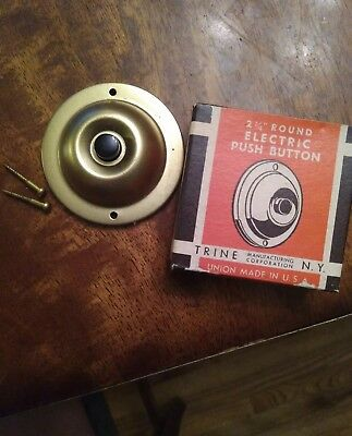 "New nos Vtg TRINE 2 1/4"" ELECTRIC PUSH BUTTON DOOR BELL brass replacement"