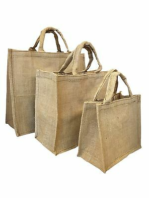 Natural Jute Water Resistant Shopping Grocery Storage Bag Small Medium Large