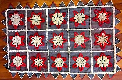 Antique 19C Wool & Ticking Stumpwork Small Crib Quilt Top or Table Topper