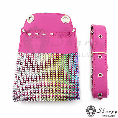 Original Sharpy Hairdresser Scissors Pouch Holster Bag Belt Pink Leather
