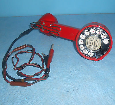 Vintage Gm General Motors Aeco Red Rotary Dial Lineman Test Butt Handset Phone