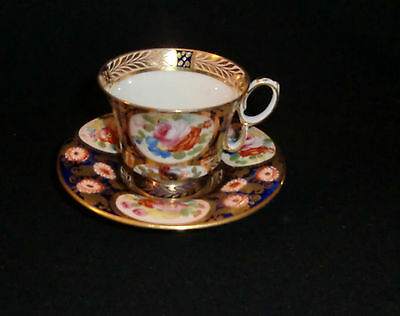 Superb Crown Staffordshire Hand Painted Cabinet Cup and Saucer - early 20th c
