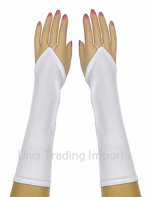 Bridal Shiny Stretch Satin Fingerless Gloves Below-The-Elbow Length