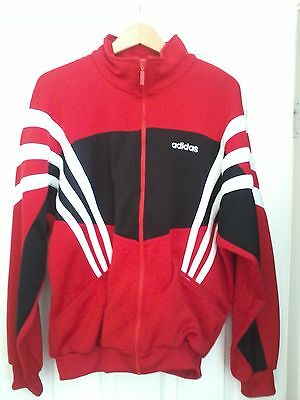 Retro Adidas Red Pullover Hooded Jacket. Red Black White Old