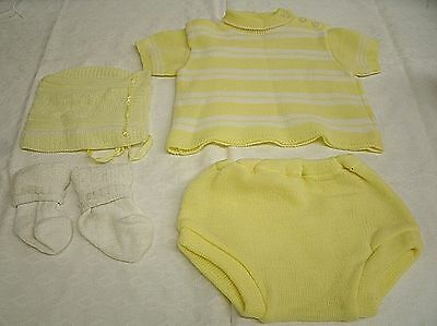 Vintage Baby YELLOW Crocheted Knit Clothes Sweater Bottoms Bonnet 0-3 mo (BC1)