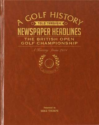 Personalised The Open Golf Newspaper Book - Brown Leatherette - Xmas Gift