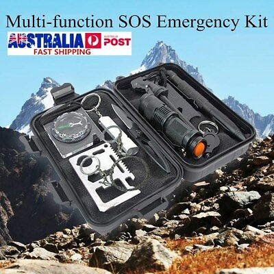 10 in 1 Outdoor Survival First Aid Tool Hiking Camping Rescue Gear Emergency Kit
