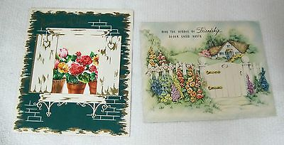 Pair of Vintage Cards Garden Gate & Path & Window with Pots of Flowers YUMMY  D2