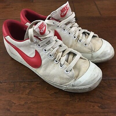 Nike Mens Shoes All Court Canvas Bred Black Red Low Top Basketball VTG 1982 7.5