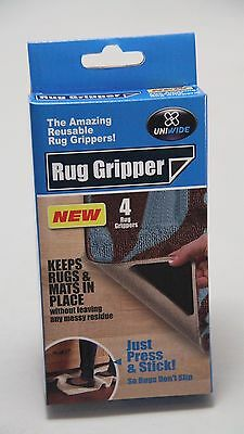 New - 4 Pack Rug Grippers -Reusable - Black - Anti-Slip
