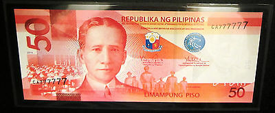 Rare 2014 Philippines 50 Pesos Block Solid Lucky 7 Number  Ca777777 Unc Sealed