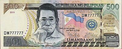 Rare 2011 Philippines 500 Pesos Block Solid Lucky 7 Number  Dm777777 Unc Sealed