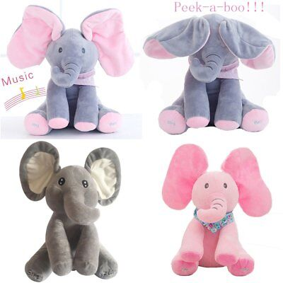 Elephant Baby Peek-a-boo Singing Plush Toy Stuffed Animated Kids Soft Cute Gift