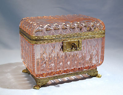 Art Deco French Pink Color Cut Glass Hinged Casket/Box Circa 1920s