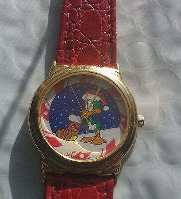 Womens Watch Warner Bros.Tiny Toons Adventures: Plucky Duck Red Leather Band